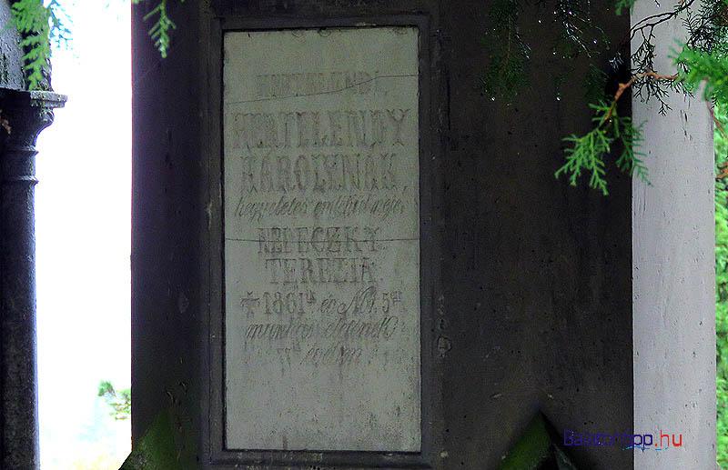 Itt, a síremlék fákkal takart oldalán, a középső oszlopon található Hertelendy Károly megfakult betűkkel vésett emléktáblája
