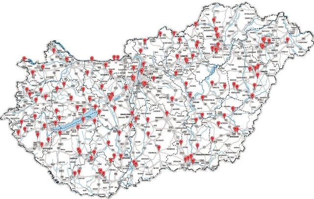 Az ország különböző útjai mellé telepített 134 kamerás traffipax állomás - komplex közlekedési ellenőrző pont
