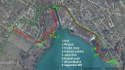 Az új balatonfűzfői bicikliútszakasz a fontosabb megállóhelyekkel - az új szakasz pirossal, a régi zölddel