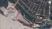 Az új szakaszt piros, a Balatoni Bringakörút eredeti útvonalát zöld színnel jeleztem