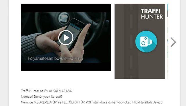 A Traffi Hunter oldala az androidos piactéren