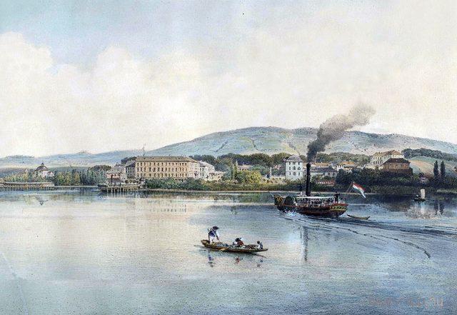 Libay Lajos - Balaton-Füred általános látképe a Kisfaludy-gőzössel - Bakonyi Múzeum, Zirc