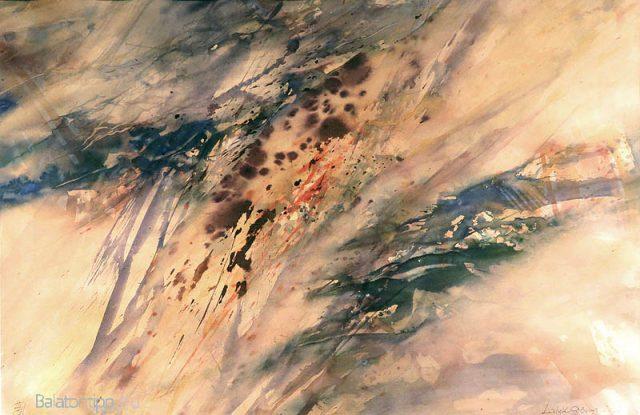 Laluk György - Balatoni vihar - Laluk György jelenleg hivatalosan budapesti. Korábban hosszú ideig dolgozott Ajkán, ahol elindította és ma is résztvevője az Ajkai Grafikai Műhely nevű művésztelepnek, Hévízhez is szorosan kötődik háza révén.