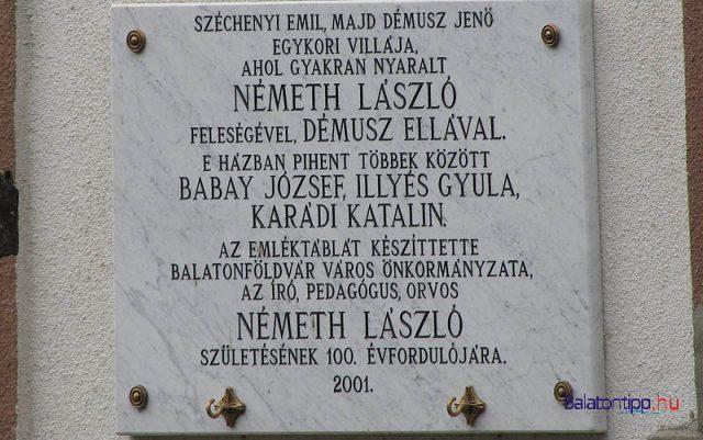 Emléktábla az Imre utca (mai petőfi utca) egyik házán, a Széchényi Emil által építtetett Eliette-villán