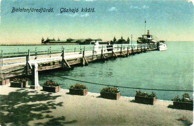 """A """"régi"""" hajókikötő 1920-ban, magas vízszint idején"""