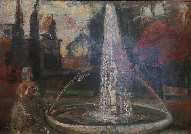 Gulácsy Lajos - Nő romantikus tájban