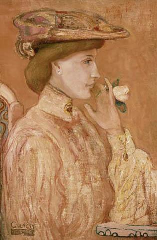 Gulácsy Lajos - Nő rózsával