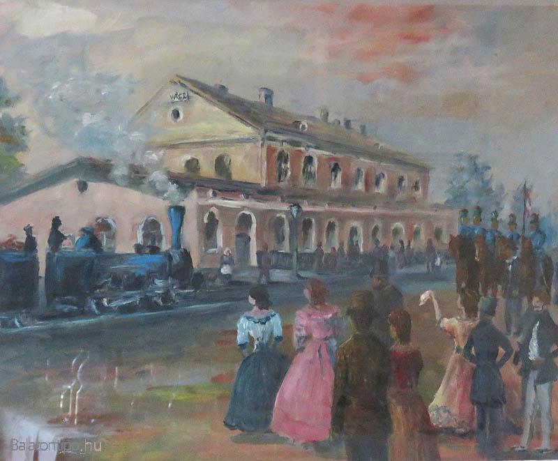A Pestről érkező első szerelvény fogadása Vácon 1846. július 15-én