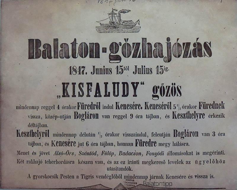 A Kisfaludy gőzös menetrendje 1847 nyaráról - a nagycenki Széchenyi-kastély kiállításának darabja