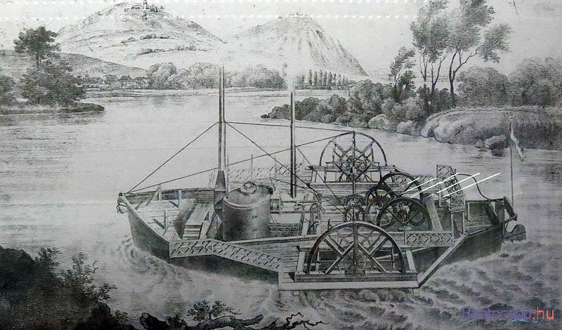 Az első magyar gőzhajó, a pécsi Bernhard Antal által Sellyén épített Carolina Arany János születésének évében tette meg az első útját a Dunán, majd visszakerült a Drávára - a kép a nagycenki Széchenyi-kastélyban látható