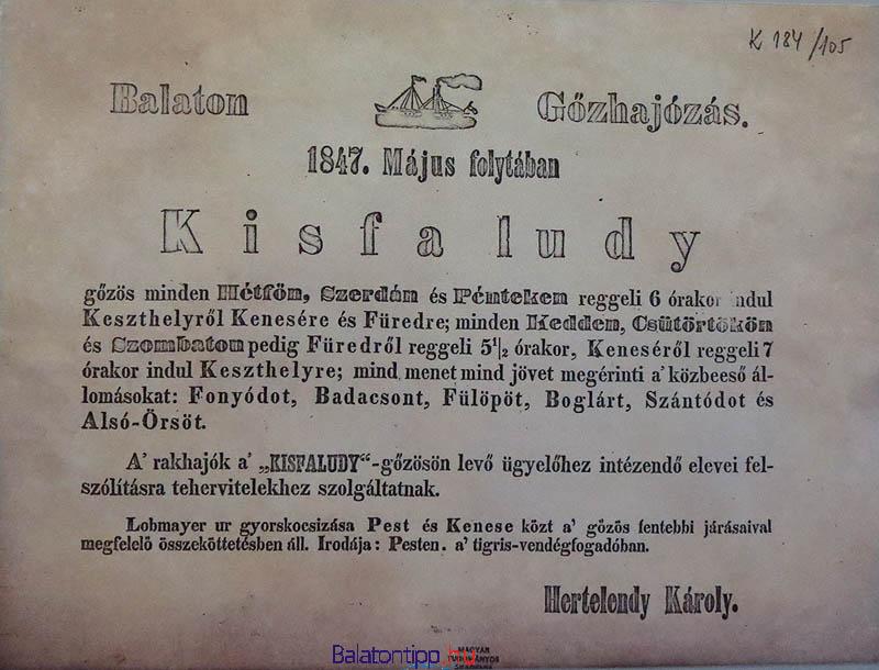 A Kisfaludy gőző menetrendje 1847 májusából Hertelendy Károly aláírásával - a nagycenki Széchenyi-kastélyból