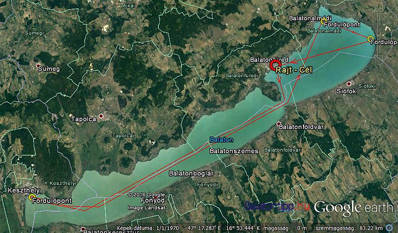 A szeptember 30-án rajtoló egyszemélyes Balaton-kerülő vitorlásverseny útvonala