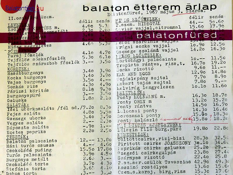 A Balaton étterem árlapja - a caviár vajjal, citrommal zene nélkül 15 forint 60 fillérbe került 1967-ben