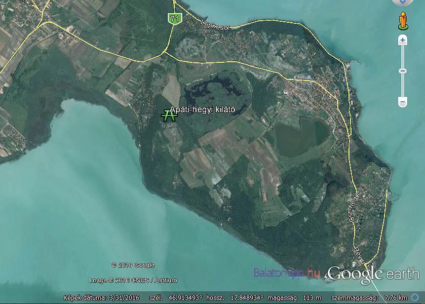A kilátót a Balaton szintje fölé mintegy 100 méterrel emelkedő Apáti-hegy tetejére építették. GPS koordinátái: 46.912196, 17.855973