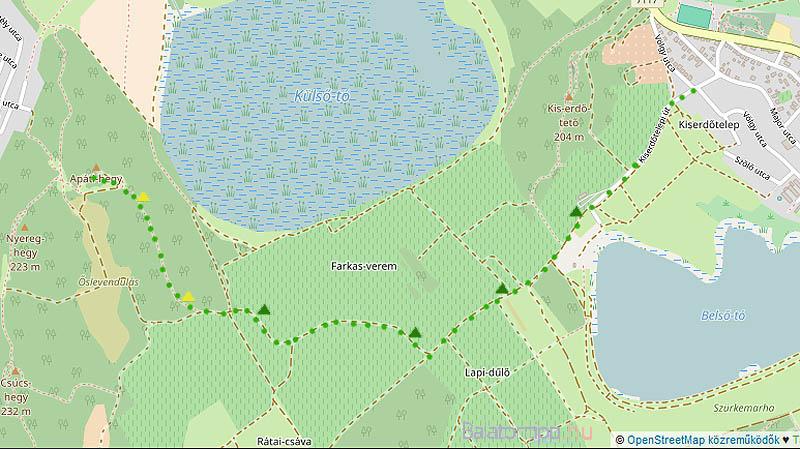 A faluból talán a legegyszerűbb útvonal a Kiserdőtelepi úton indulva, majd a zöld, utána a sárga kilátó-jelzést követve vezet az Apáti-hely tetejére