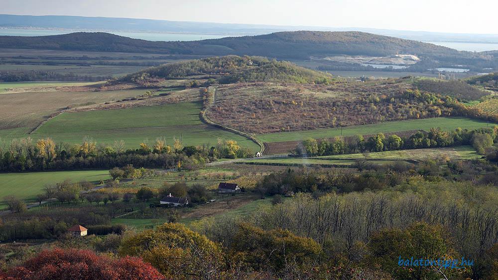 A Harasztos-hegy és a távolban a Balaton túlsó partja