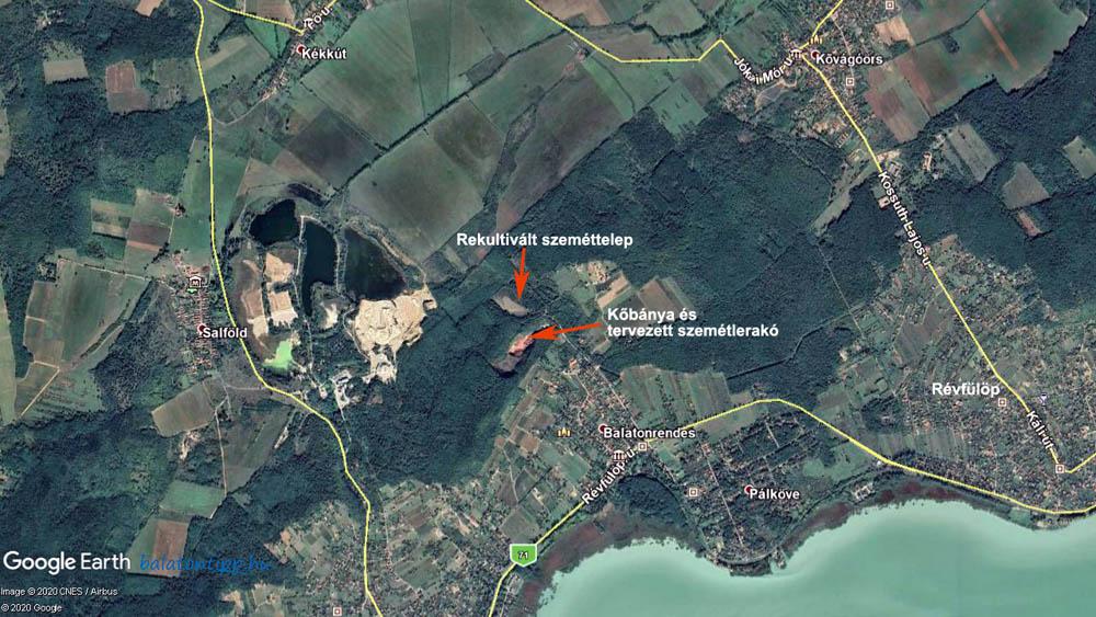 A balatonrendesi vöröshomokkő bánya és környezete a Google Earth térképén