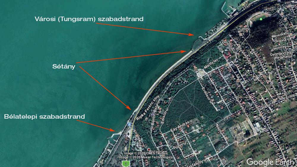 A tervezett fonyódi sétány térképen