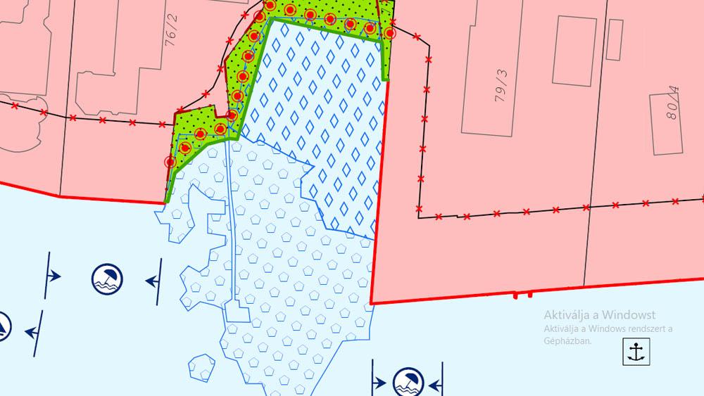Balaton vízparti területei közcélú területfelhasználási terve érintett füredi részlete - Lechner Kft.