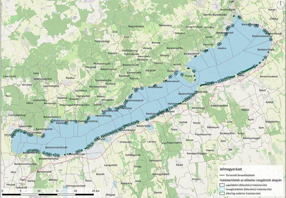 A balatoni partvédőmű emelés, felújítás tervezett helyszínei