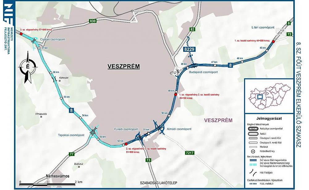 Térkép a fejlesztések Veszprém közelében zajló részeiről - Forrás: NIF Zrt.