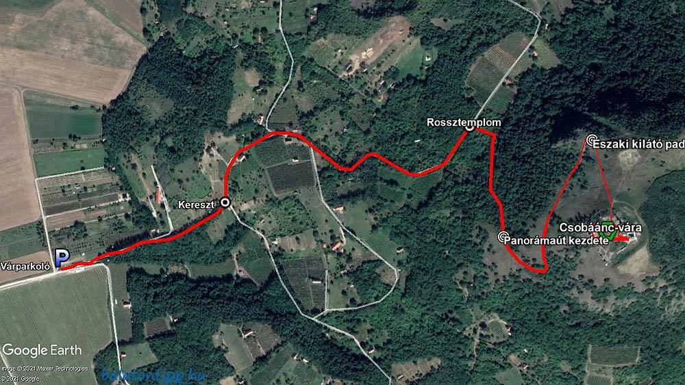 A csobánci túra részletes útvonaltérképe