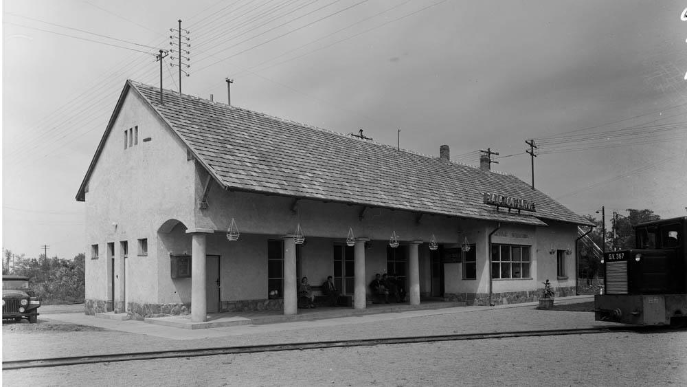 A balatonfenyvesi kisvasút állomás 1956-ban