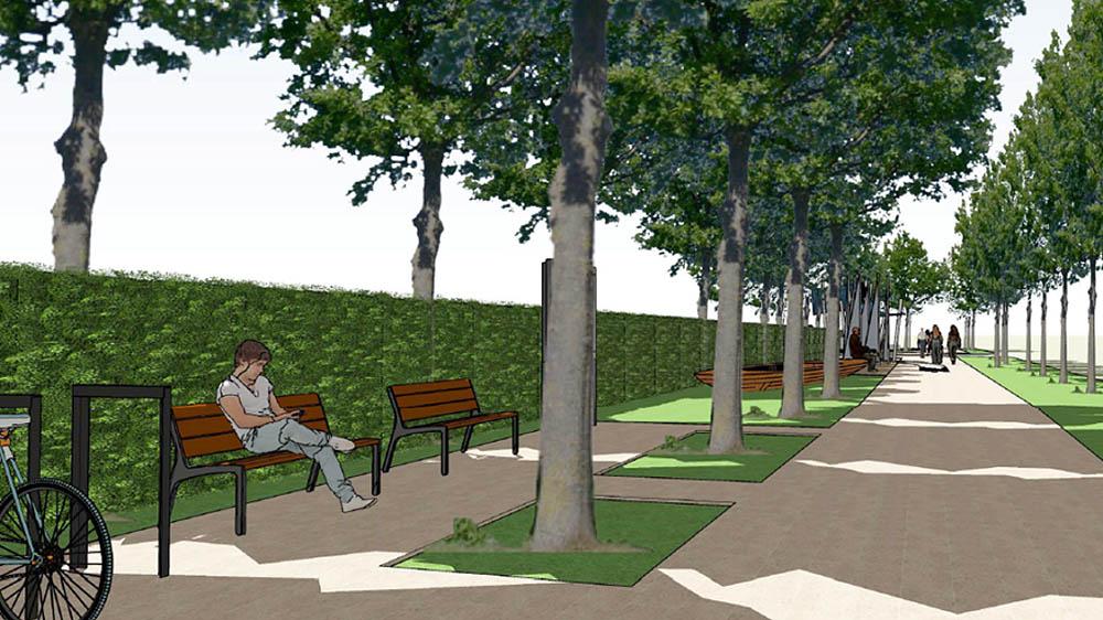 A Kékszalag sétány látványterve padokkal - Forrás: Balatonfured.hu