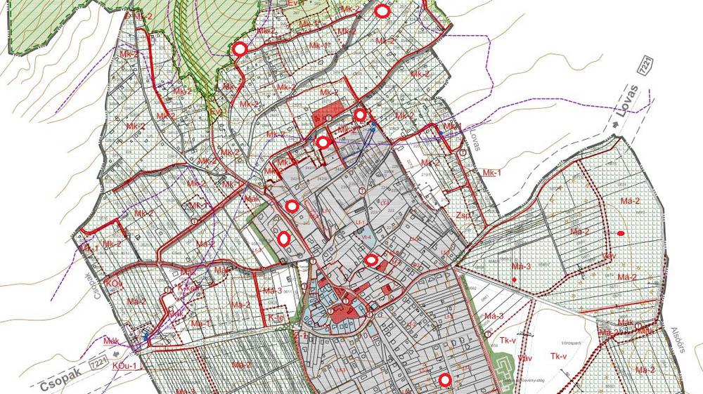 A tervezett építésekkel kapcsolatos ingatlanok elhelyezkedése - egyes ingatlanokhoz több ügy is kapcsolódik - Illusztráció: Önkormányzat Paloznak