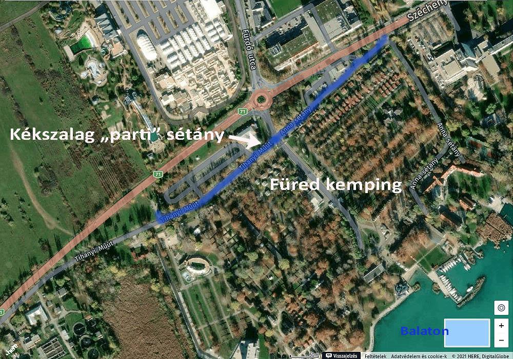A Kékszalag sétány a WeGoHere térképén