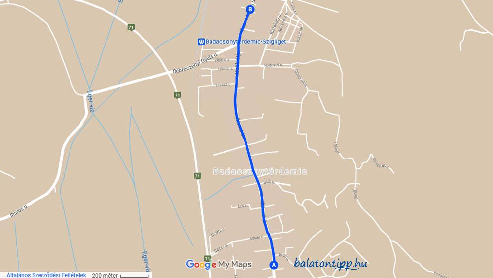 Térkép a pünkösd hétfőn Badacsonytördemicen tervezett zöldág-járásról - Google-Balatontipp